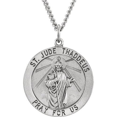 Sterling Silver 25mm St. Jude Medal with 24in Chain