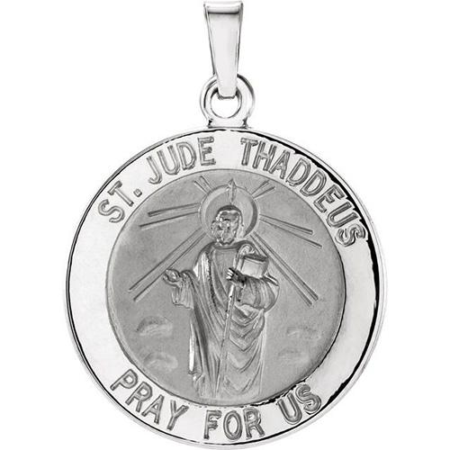 14kt White Gold 18.25mm St. Jude Medal