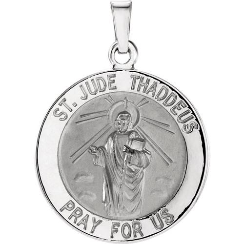 14kt White Gold 22mm St. Jude Medal