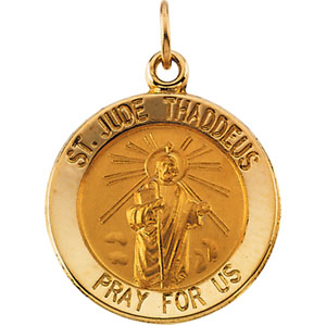 14kt Yellow Gold St. Jude Medal 15mm