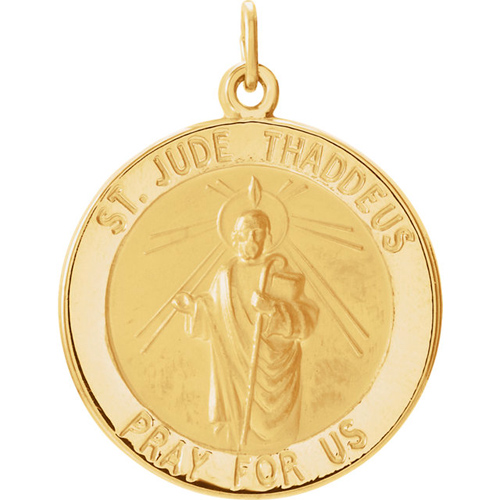 14kt Yellow Gold St. Jude Medal 22mm