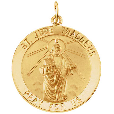 14kt Yellow Gold St. Jude Medal 25mm