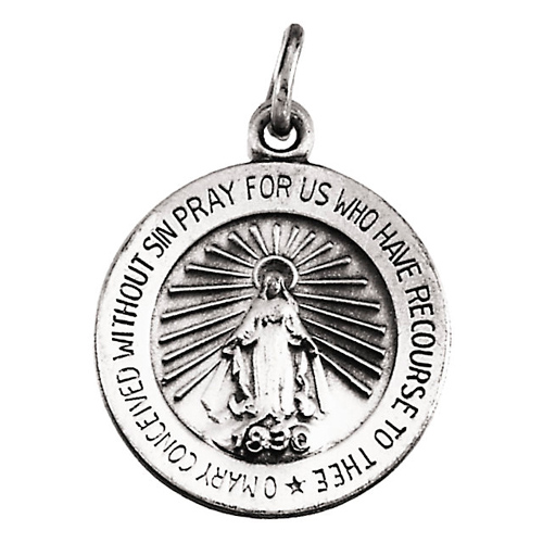14k White Gold 18mm Miraculous Medal