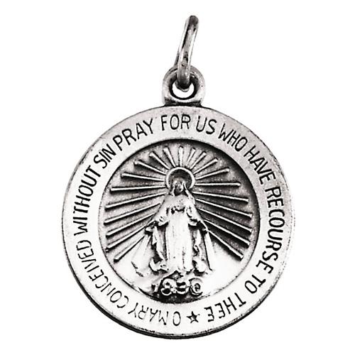 14k White Gold 18mm Miraculous Medal