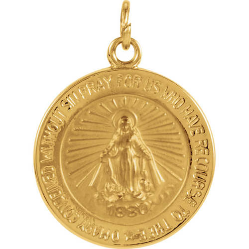 14kt Yellow Gold 15mm Round Miraculous Medal