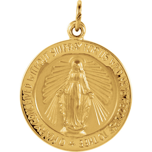14kt Yellow Gold 18mm Round Miraculous Medal