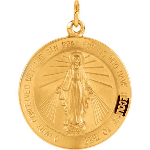 14kt Yellow Gold 22mm Round Miraculous Medal