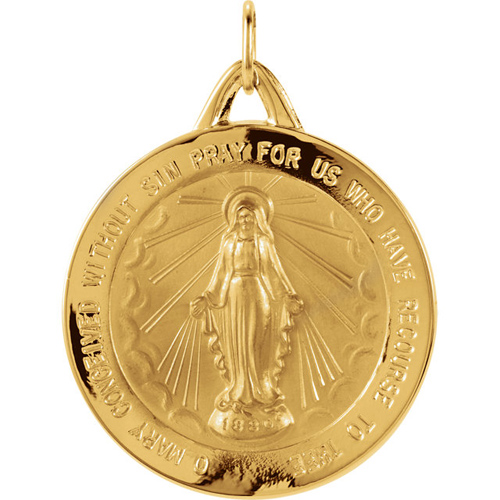 14kt Yellow Gold 25mm Round Miraculous Medal