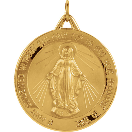 14kt Yellow Gold 29mm Round Miraculous Medal