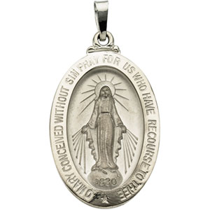 14kt White Gold Miraculous Medal 26x18mm