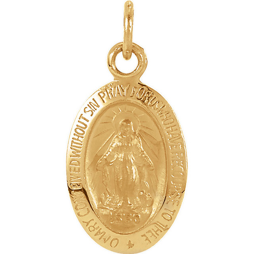 14kt Yellow Gold Oval 12x8mm Miraculous Medal