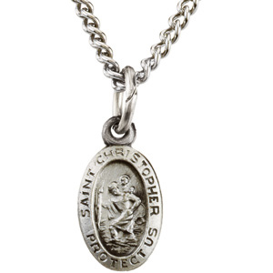 Sterling Silver 8.75mm St. Christopher Medal & 18in Chain