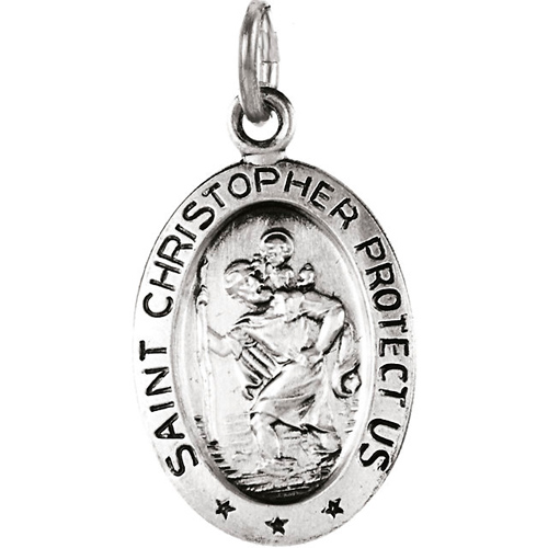 14kt White Gold 5/8in Oval St. Christopher Medal