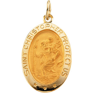 St. Christopher Medal 19x14mm - 14kt Yellow Gold