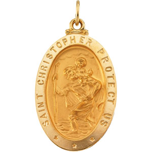 St. Christopher Medal 24x18mm - 14kt Yellow Gold