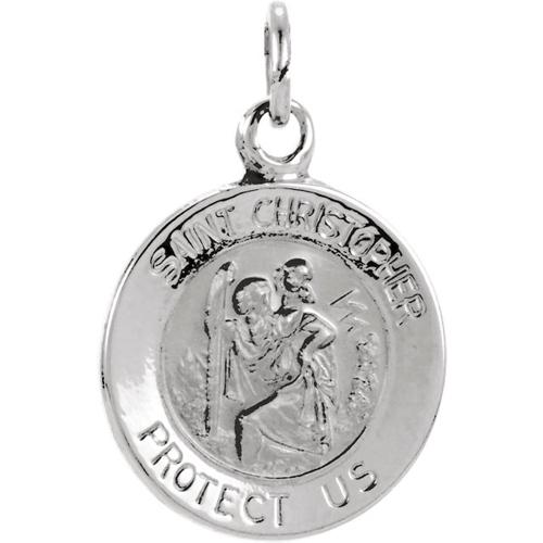 14kt White Gold St. Christopher Medal 15mm