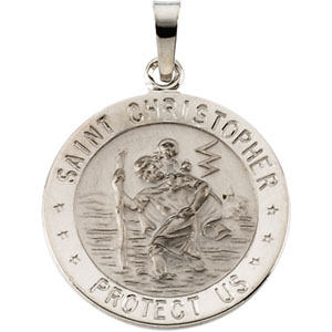 14kt White Gold St. Christopher Medal 18mm