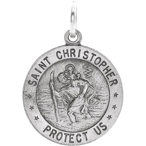 14kt White Gold St. Christopher Medal 18mm