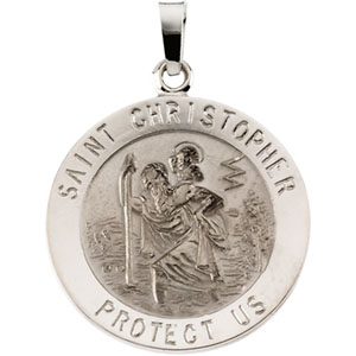 14kt White Gold St. Christopher Medal 20mm