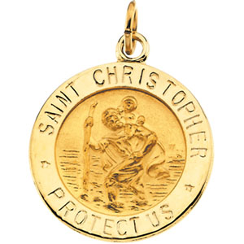 14k Yellow Gold Saint Christopher Medal Pendant