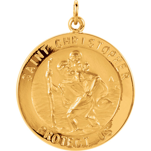 14kt Yellow Gold St. Christopher Medal 22mm