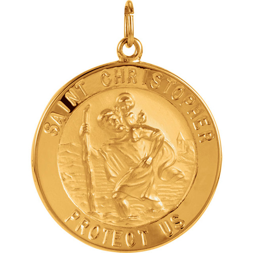 14kt Yellow Gold St. Christopher Medal 25mm