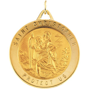 14kt Yellow Gold St. Christopher Medal 29mm
