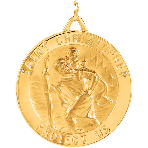 14kt Yellow Gold St. Christopher Medal 33mm
