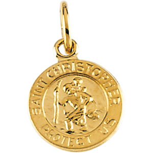 14kt Yellow Gold St. Christopher Medal 8mm