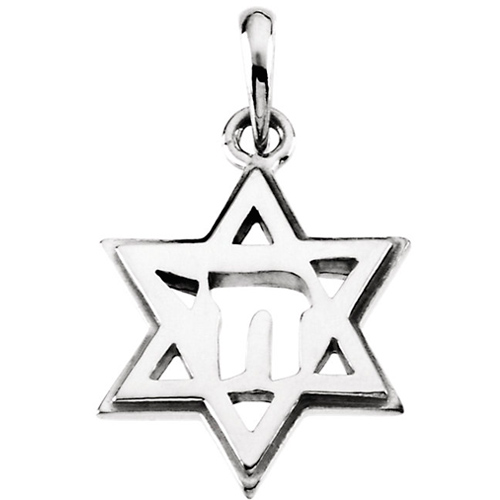 14k Star of David Chai Pendant 19x14mm