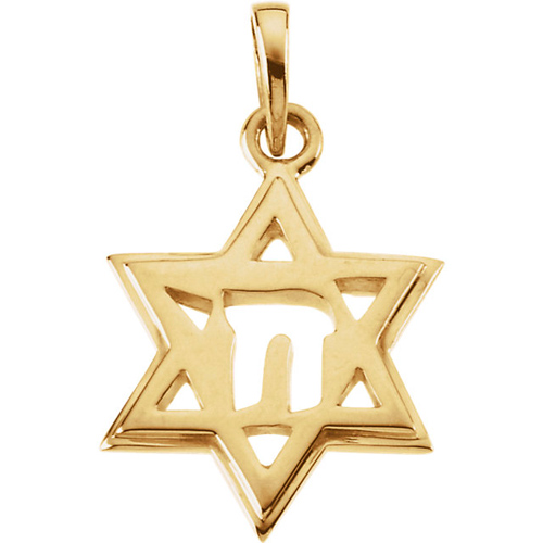 14kt Yellow Gold 3/4in Star of David Chai Pendant