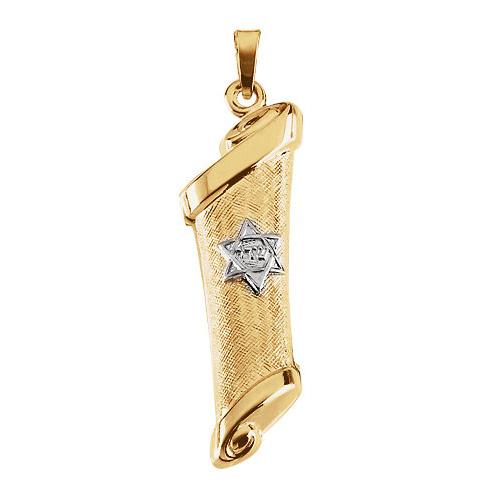 14kt Two-tone Gold 34x12mm Hollow Mezuzah Pendant