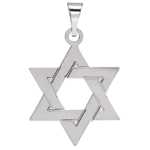 14kt White Gold 17x15mm Star of David Pendant