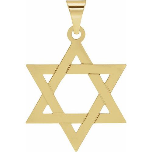 14k Yellow Gold Star of David Pendant 25x19mm