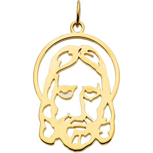 14kt Yellow Gold 1in Face of Jesus Pendant
