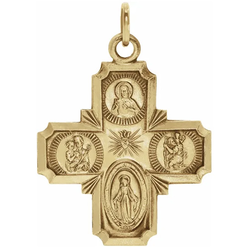 14kt Yellow Gold 18mm Four Way Cross Medal