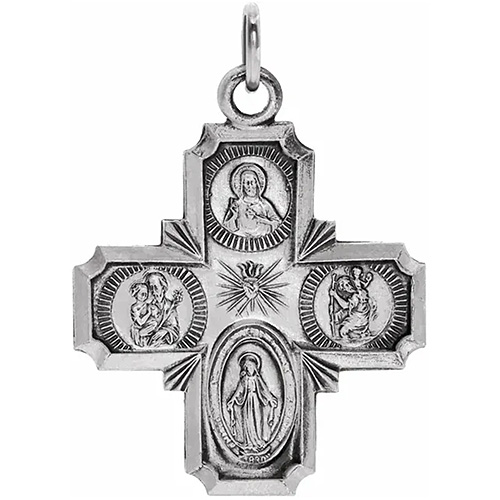 Sterling Silver 1in Four Way Medal Cross & 24in Chain