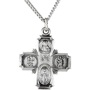 Sterling Silver 3/4in Four Way Medal Cross & 18in Chain