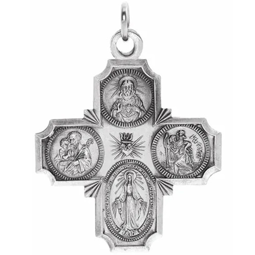 Sterling Silver 1 1/8in Four Way Medal Cross & 24in Chain