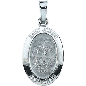 14kt White Gold 5/8in Oval St. Joseph Medal