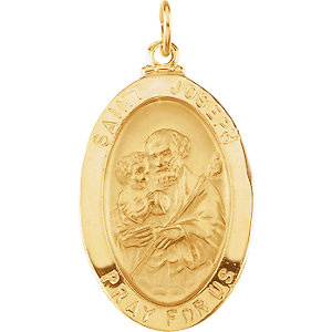14kt Yellow Gold 3/4in Oval St. Joseph Medal