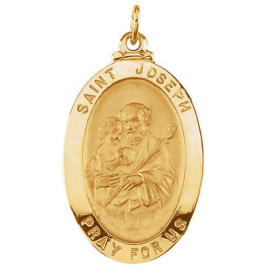 14kt Yellow Gold 1in St. Joseph Medal
