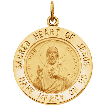 14kt Yellow Gold 15mm Sacred Heart of Jesus Medal