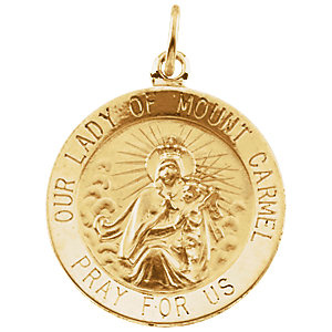 14kt Yellow Gold 15mm Lady of Mount Carmel Medal - Clearance