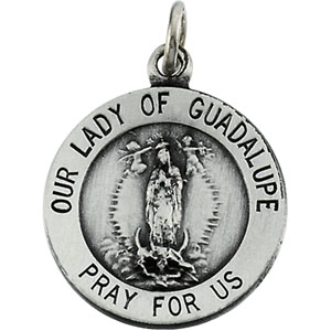 Guadalupe Medal 15mm & Chain - Sterling Silver