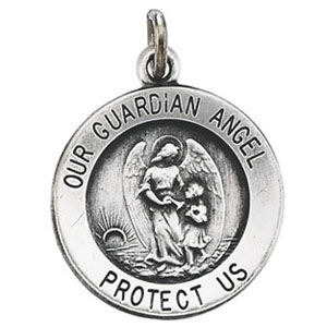 Sterling Silver 11.8mm Guardian Angel Medal & 18in Chain