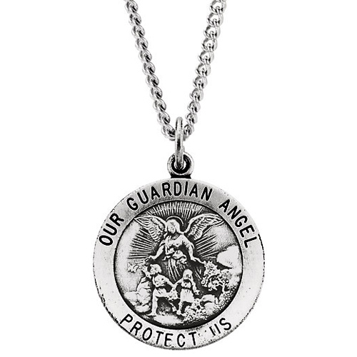 Sterling Silver 22mm Guardian Angel Medal & 24in Chain