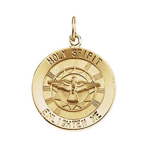 Holy Spirit Medal 18mm - 14kt Yellow Gold