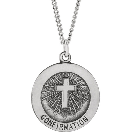 Sterling Silver Round Confirmation Medal 18mm on 18in Chain