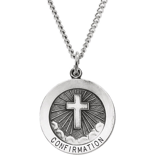 Sterling Silver Round Confirmation Medal 22mm on 24in Chain